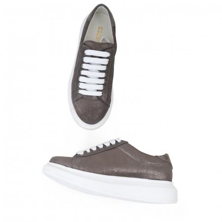 Pantofi cu talpă groasă, realizati din piele natural gri glitter2
