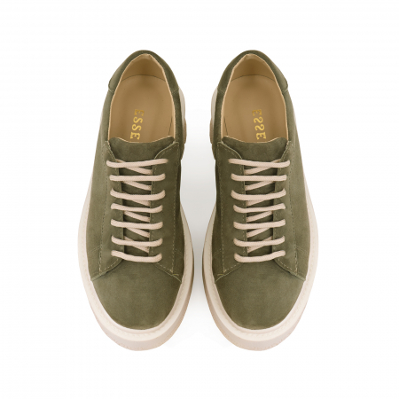 Pantofi cu talpă groasă, realizati din piele naturala intoarsa, kaki2