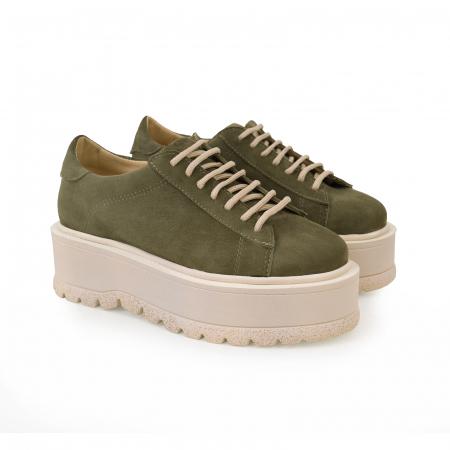 Pantofi cu talpă groasă, realizati din piele naturala intoarsa, kaki1