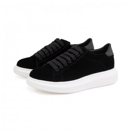 Pantofi cu talpă groasă neagra, catifea si piele naturala neagra [2]