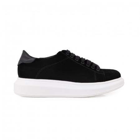 Pantofi cu talpă groasă neagra, catifea si piele naturala neagra [0]