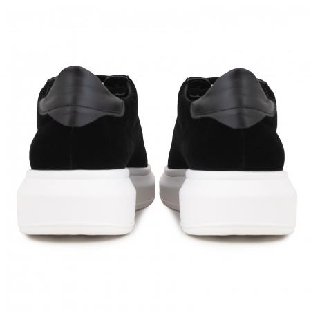 Pantofi cu talpă groasă neagra, catifea si piele naturala neagra [6]