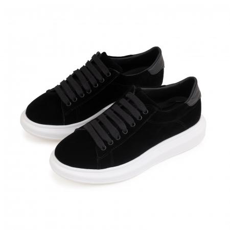 Pantofi cu talpă groasă neagra, catifea si piele naturala neagra [3]