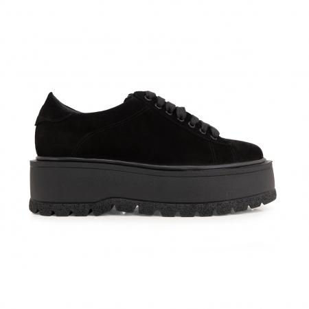 Pantofi cu talpă groasă, realizati din piele naturala intoarsa, neagra0