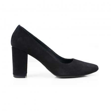 Pantofi cu toc patrat, din piele intoarsa neagra0
