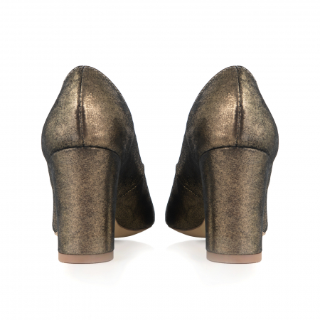 Pantofi cu toc patrat, din piele naturala, bronz laminat2