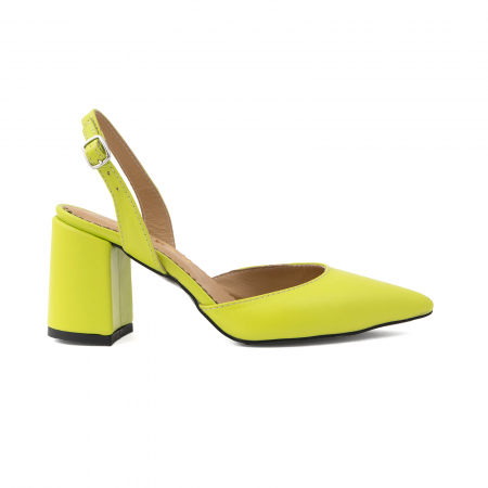 Pantofi cu varf ascutit decupati, cu bareta peste calcai, din piele naturala verde neon0