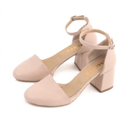 Pantofi cu varf rotund cu decupaj si bareta la calcai, din piele naturala nude roze1
