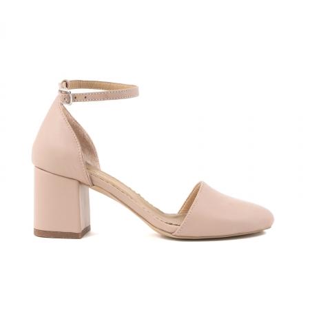 Pantofi cu varf rotund cu decupaj si bareta la calcai, din piele naturala nude roze0