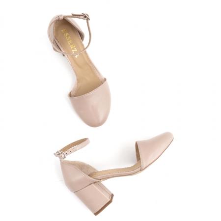 Pantofi cu varf rotund cu decupaj si bareta la calcai, din piele naturala nude roze2