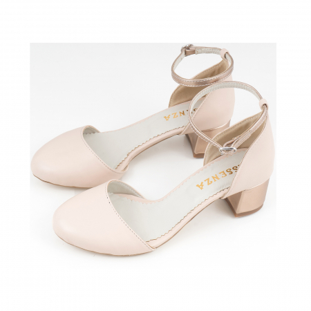 Pantofi cu varf rotund, cu decupaj si bareta la calcai, din piele nude rose si piele sidefata bronz [2]