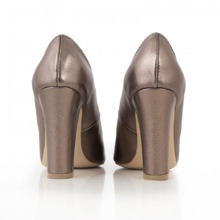Pantofi cu varf semiascutit, din piele naturala, bronz laminat3