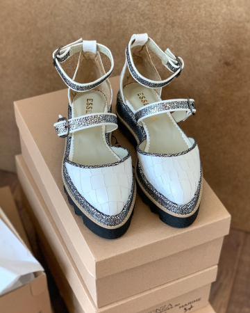 Pantofi decupati, din piele naturala cu textura tip croco si piele texturata in nuante de negru si argintiu [2]