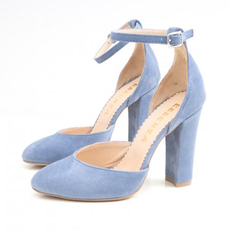 Pantofi din piele intoarsa albastru deschis, cu varf semi-ascutit si decupaj interior si exterior [2]