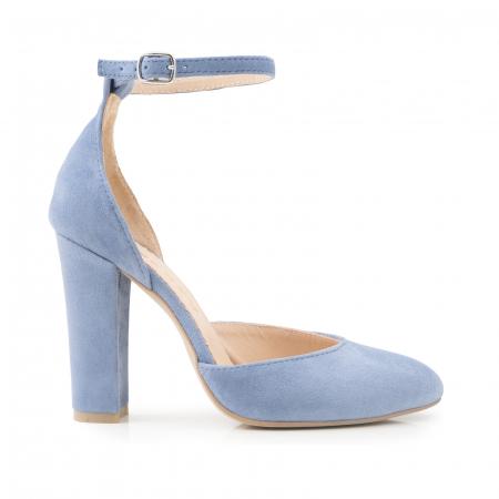 Pantofi din piele intoarsa albastru deschis, cu varf semi-ascutit si decupaj interior si exterior [0]