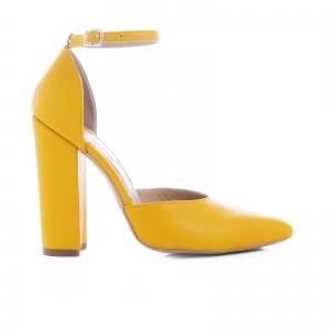 Pantofi din piele naturala de culoare galben0