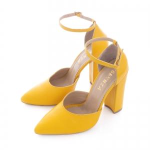 Pantofi din piele naturala de culoare galben1