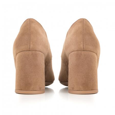 Pantofi din piele naturala intoarsa, roz- somon, cu toc patrat si varf rotinjit2