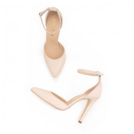 Pantofi din piele naturala, nude rose, cu varf ascutit si decupaj interior si exterior.3