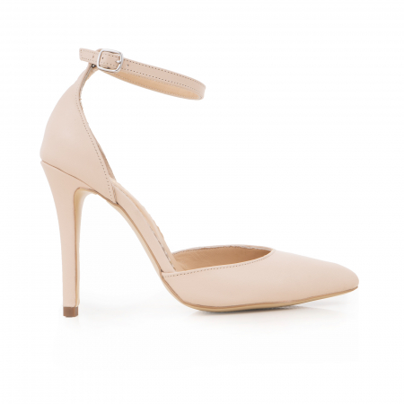 Pantofi din piele naturala, nude rose, cu varf ascutit si decupaj interior si exterior.0