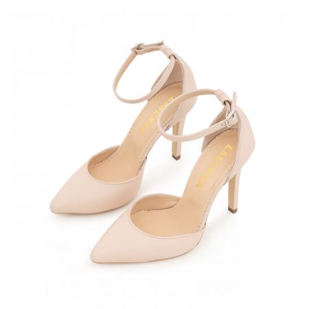 Pantofi din piele naturala, nude rose, cu varf ascutit si decupaj interior si exterior.2