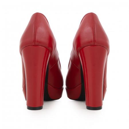 Pantofi din piele naturala rosie, cu toc gros si platforma.4