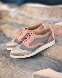 Pantofi din piele roz si cafenie1
