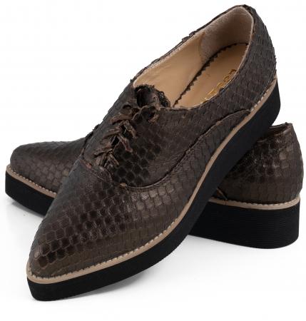 Pantofi oxford cu varf ascutit, din piele bronz metalizat cu aspect tip solzi5