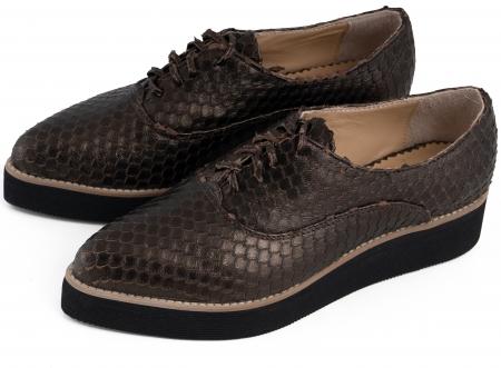 Pantofi oxford cu varf ascutit, din piele bronz metalizat cu aspect tip solzi4