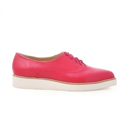 Pantofi oxford, cu varf ascutit, din piele ciclam. [0]