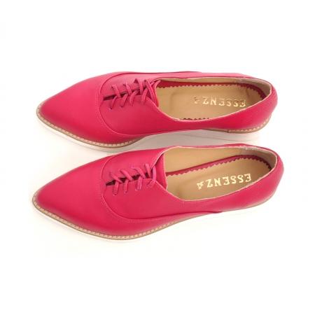 Pantofi oxford, cu varf ascutit, din piele ciclam. [3]