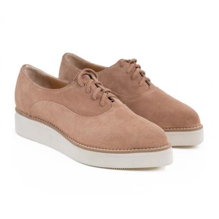 Pantofi oxford cu varf ascutit, din piele intoarsa roz somon [2]