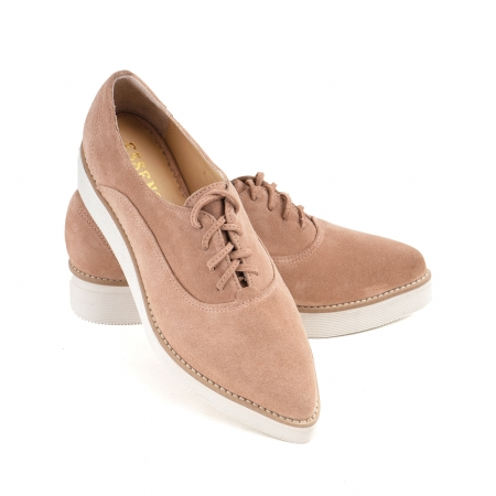 Pantofi oxford cu varf ascutit, din piele intoarsa roz somon [3]