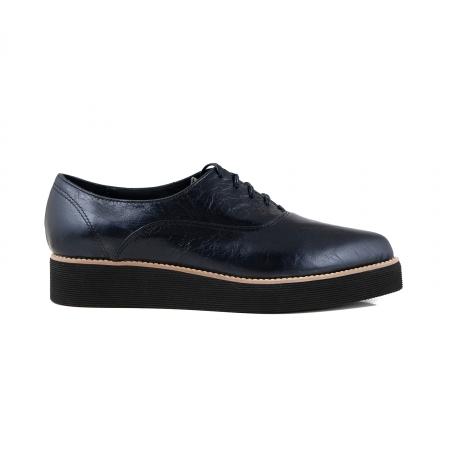 Pantofi oxford cu varf ascutit, din piele laminata, albastru inchis0