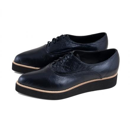 Pantofi oxford cu varf ascutit, din piele laminata, albastru inchis1