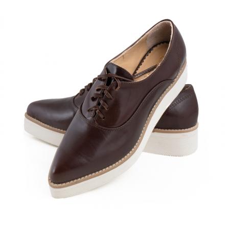 Pantofi oxford cu varf ascutit, din piele naturala maron3