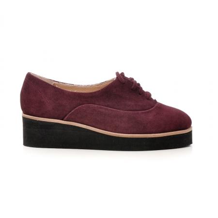 Pantofi oxford, din piele intoarsa mov [0]