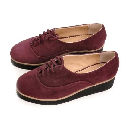 Pantofi oxford, din piele intoarsa mov [2]