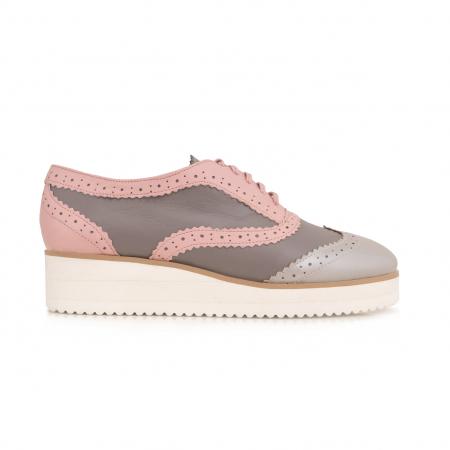 Pantofi oxford,din piele si piele lacuita in nuante de roz pal si gri [0]