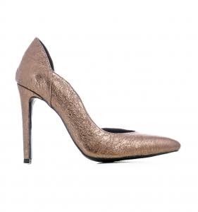 Pantofi stiletto, cu decupaj interior, din piele bronz0