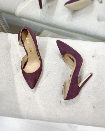 Pantofi stiletto, cu decupaj interior, din piele naturala intoarsa mov pruna1