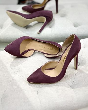 Pantofi stiletto, cu decupaj interior, din piele naturala intoarsa mov pruna0