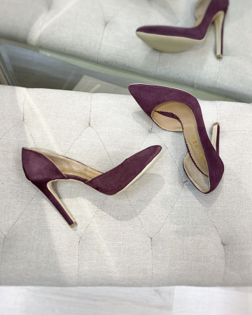 Pantofi stiletto, cu decupaj interior, din piele naturala intoarsa mov pruna2
