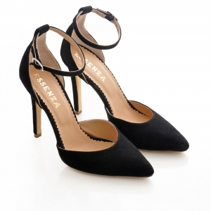 Pantofi stiletto cu decupaj interior si exterior. din piele intoarsa neagra1