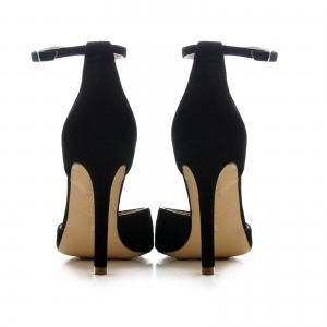 Pantofi stiletto cu decupaj interior si exterior. din piele intoarsa neagra3