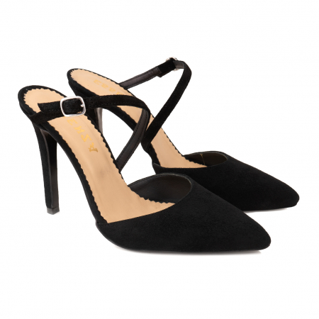 Pantofi stiletto decupati, cu bareta, din piele intoarsa neagra [3]