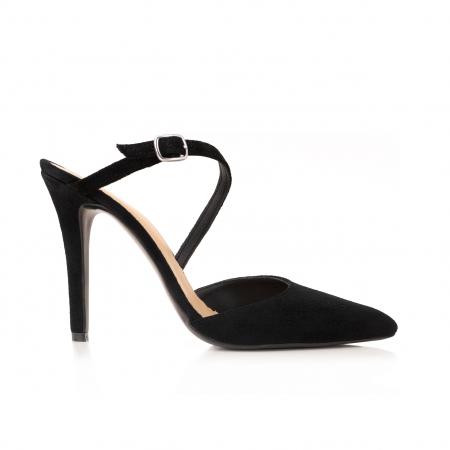 Pantofi stiletto decupati, cu bareta, din piele intoarsa neagra [0]
