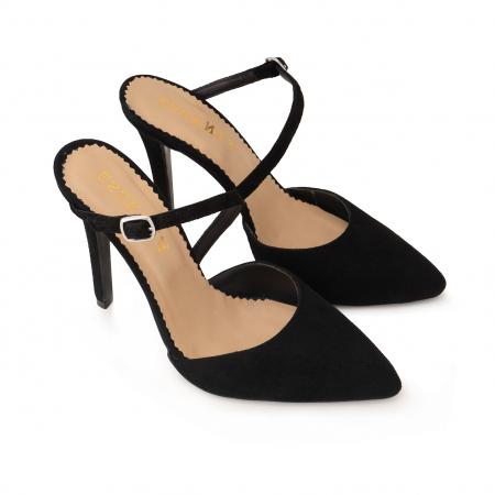 Pantofi stiletto decupati, cu bareta, din piele intoarsa neagra [2]