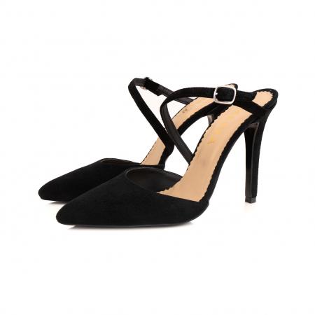 Pantofi stiletto decupati, cu bareta, din piele intoarsa neagra [1]