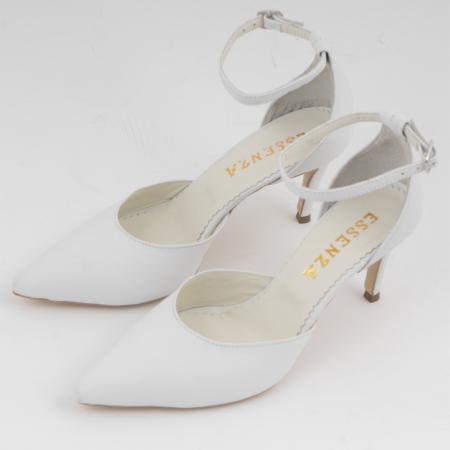 Pantofi stiletto decupati, din piele naturala alba1